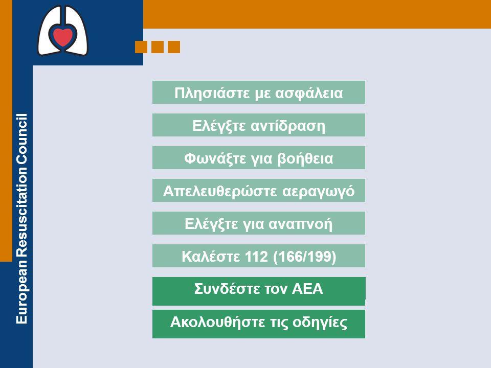 European Resuscitation Council ΕΝΕΡΓΟΠΟΙΗΣΤΕ ΤΟΝ ΑΕΑ Μερικοί ΑΕΑ ενεργοποιούνται αυτόματα μόλις ανοιχτούν