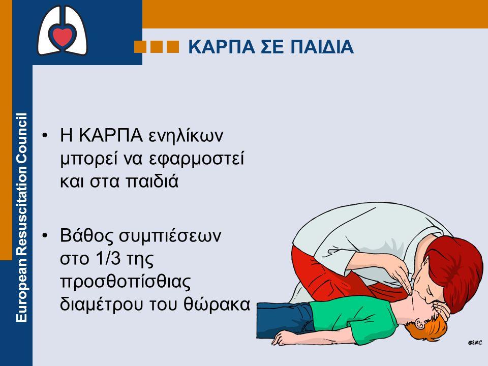 European Resuscitation Council ΑΕΑ ΣΕ ΠΑΙΔΙΑ Ηλικία > 8 ετών χρησιμοποιήστε ΑΕΑ ενηλίκων Ηλικία 1-8 ετών χρησιμοποιήστε παιδιατρικά ηλεκτρόδια / ρυθμίσεις εάν υπάρχουν (ειδάλλως σε λειτουργία ενηλίκων) Ηλικία < 1 έτους μόνο αν προβλέπεται από τον κατασκευαστή