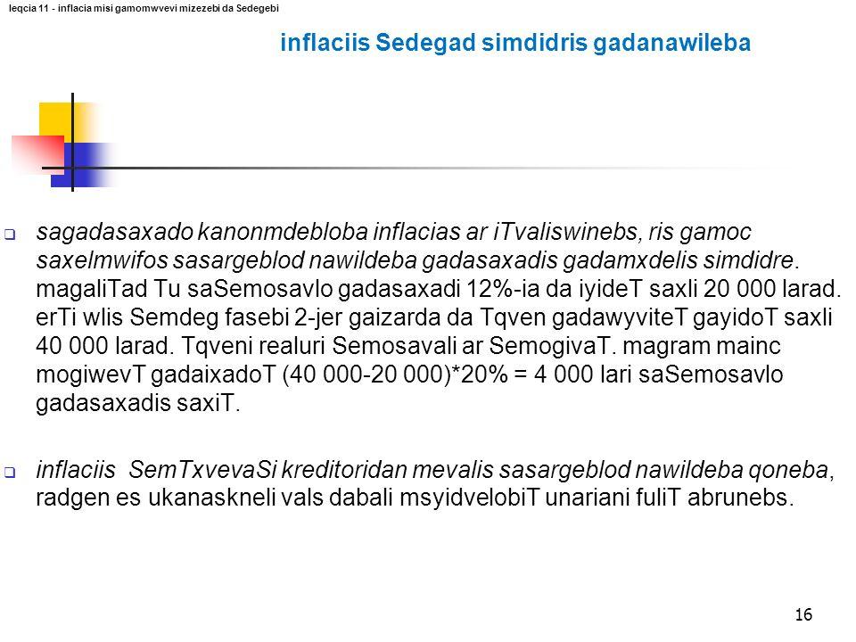 inflaciis Sedegad simdidris gadanawileba