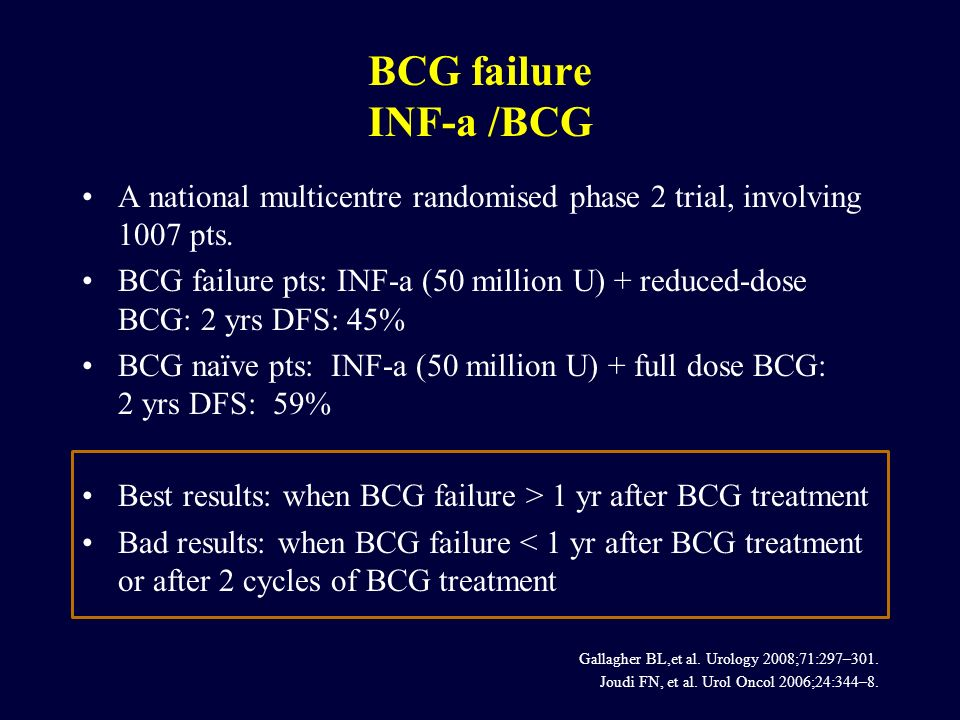 BCG failure INF-a /BCG A national multicentre randomised phase 2 trial, involving 1007 pts.