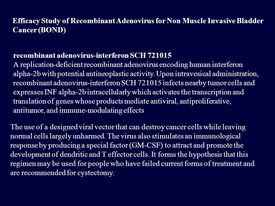 Efficacy Study of Recombinant Adenovirus for Non Muscle Invasive Bladder Cancer (BOND)