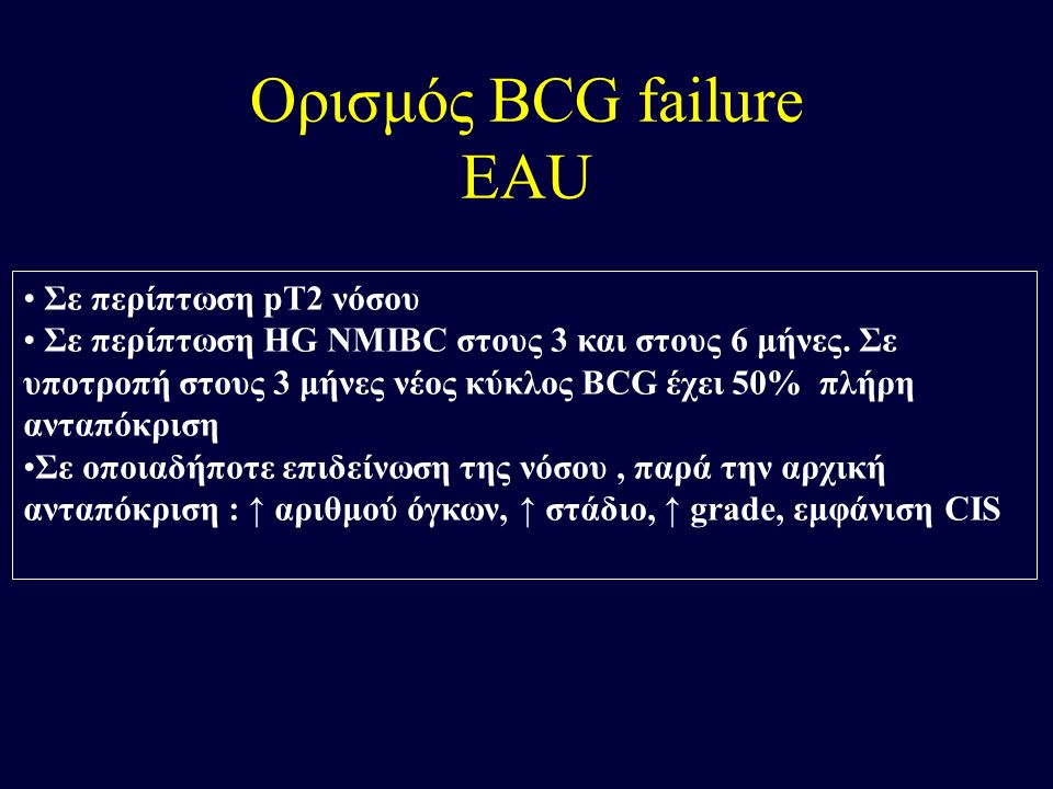 Ορισμός BCG failure EAU