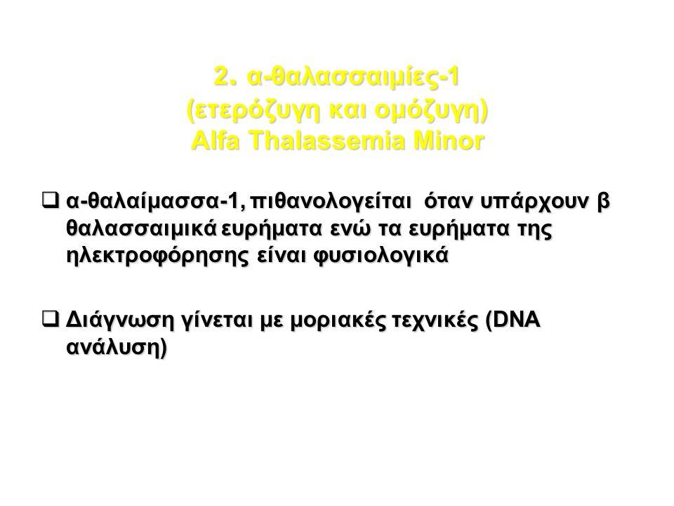 2. α-θαλασσαιμίες-1 (ετερόζυγη και ομόζυγη) Alfa Thalassemia Minor