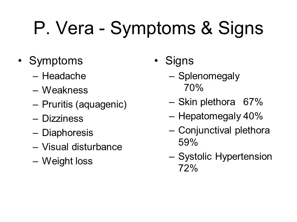 P. Vera - Symptoms & Signs