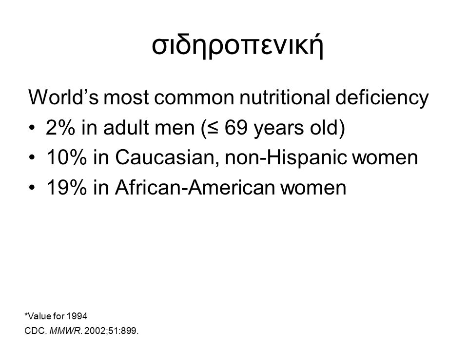 σιδηροπενική World's most common nutritional deficiency