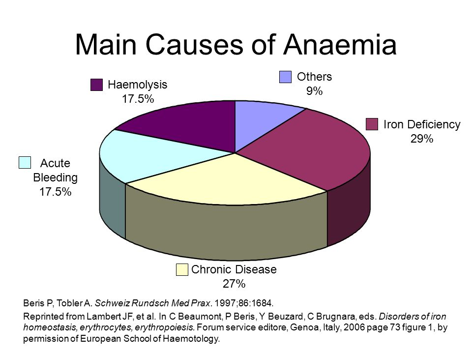 Main Causes of Anaemia Others 9% Haemolysis 17.5% Iron Deficiency 29%