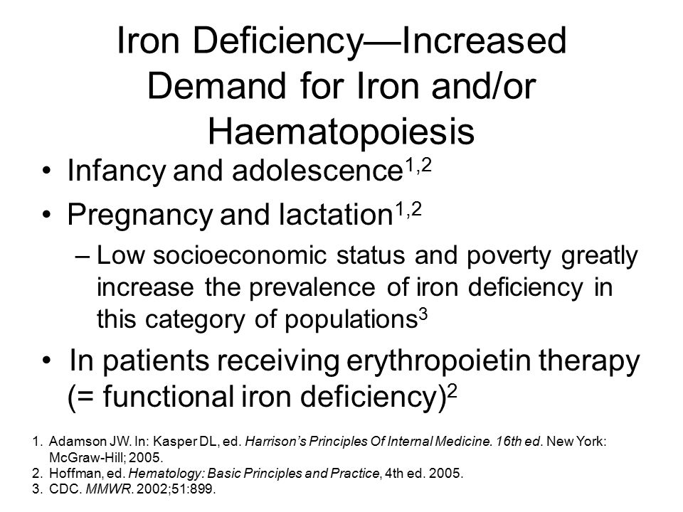 Iron Deficiency—Increased Demand for Iron and/or Haematopoiesis