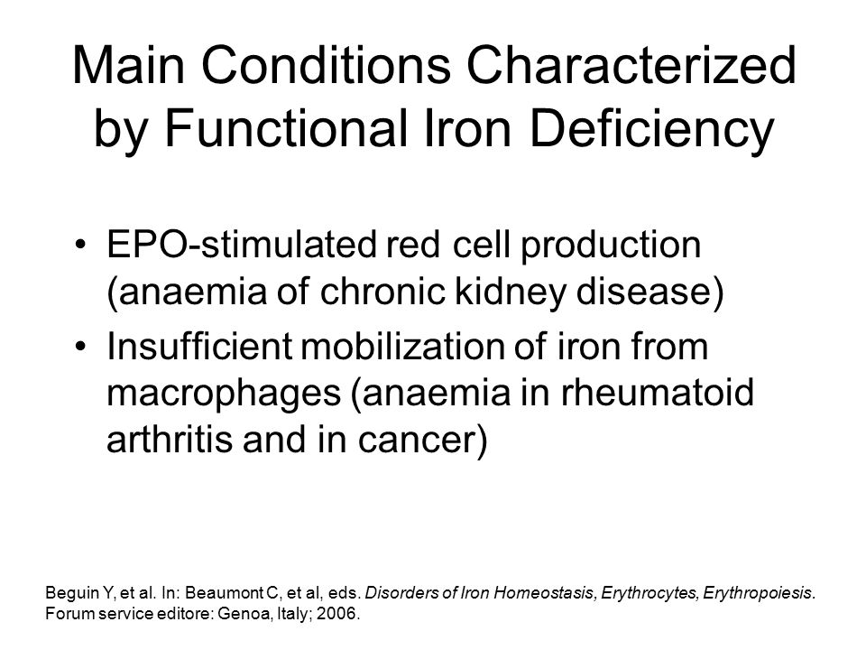 Main Conditions Characterized by Functional Iron Deficiency