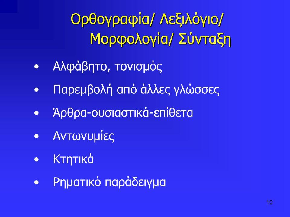 Ορθογραφία/ Λεξιλόγιο/ Μορφολογία/ Σύνταξη