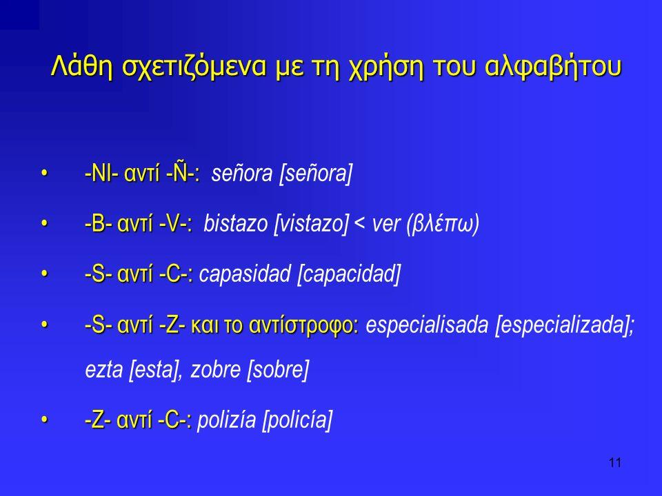 Λάθη σχετιζόμενα με τη χρήση του αλφαβήτου