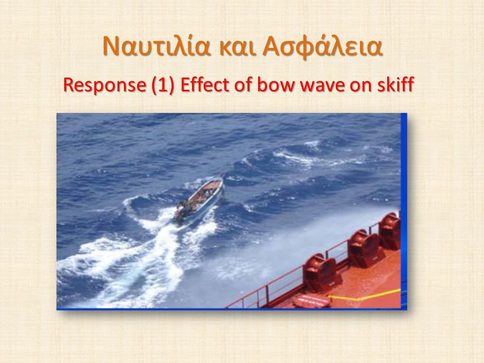 Response (1) Effect of bow wave on skiff