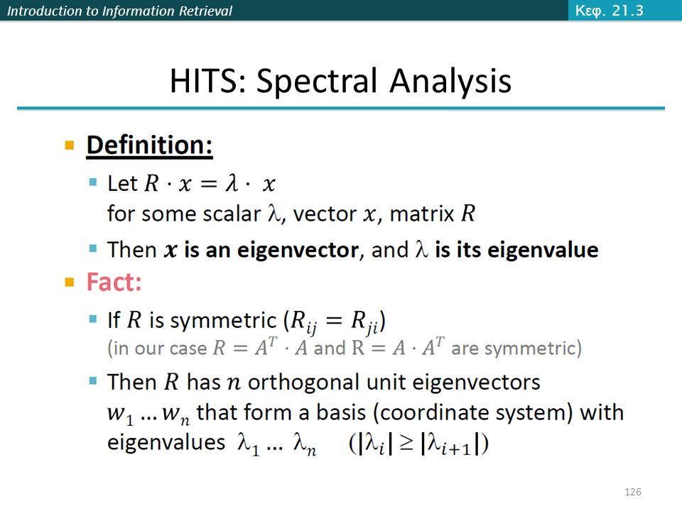 HITS: Spectral Analysis