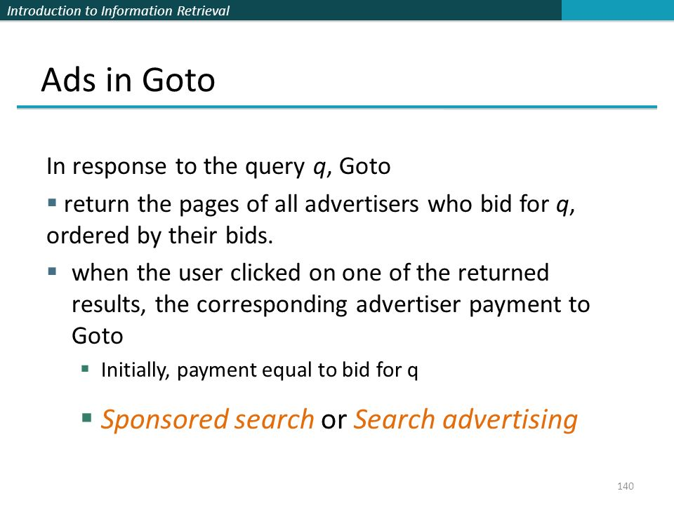 Ads in Goto Sponsored search or Search advertising