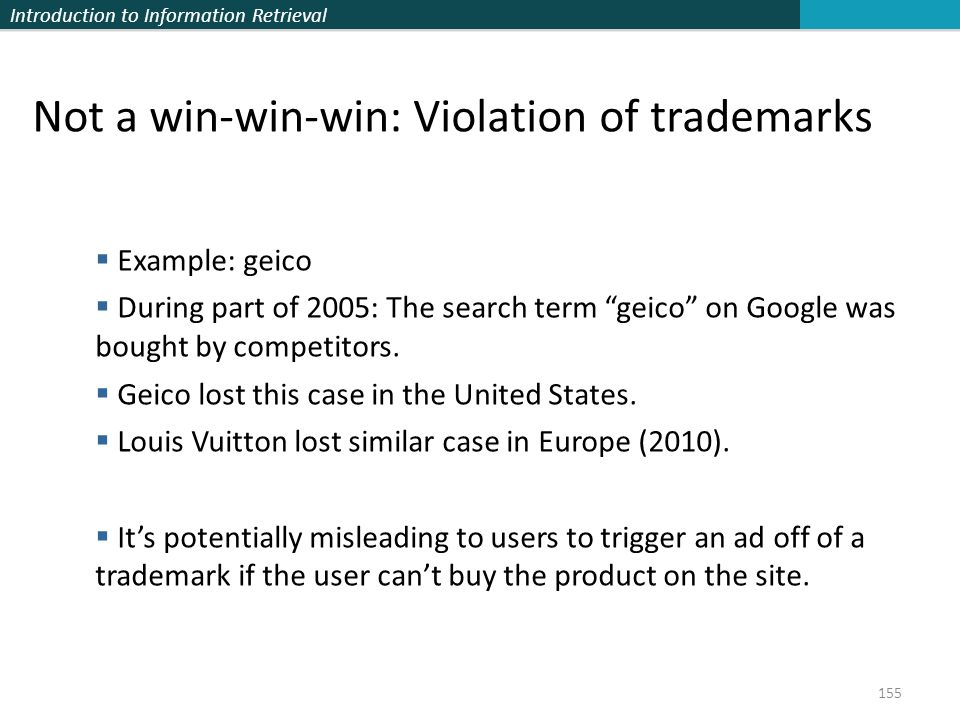 Not a win-win-win: Violation of trademarks