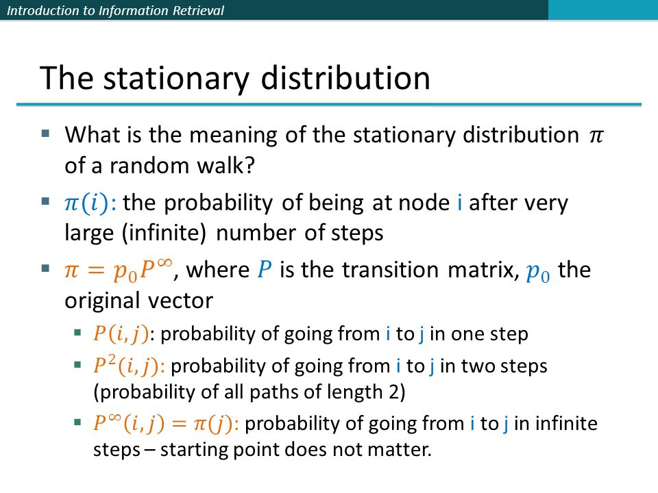 The stationary distribution