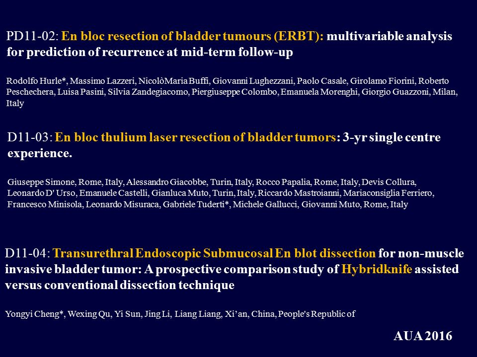PD11-02: En bloc resection of bladder tumours (ERBT): multivariable analysis for prediction of recurrence at mid-term follow-up