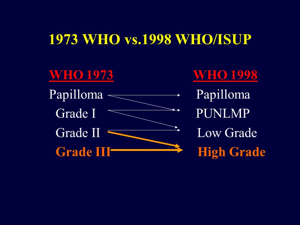 1973 WHO vs.1998 WHO/ISUP WHO 1973 WHO 1998 Papilloma Papilloma