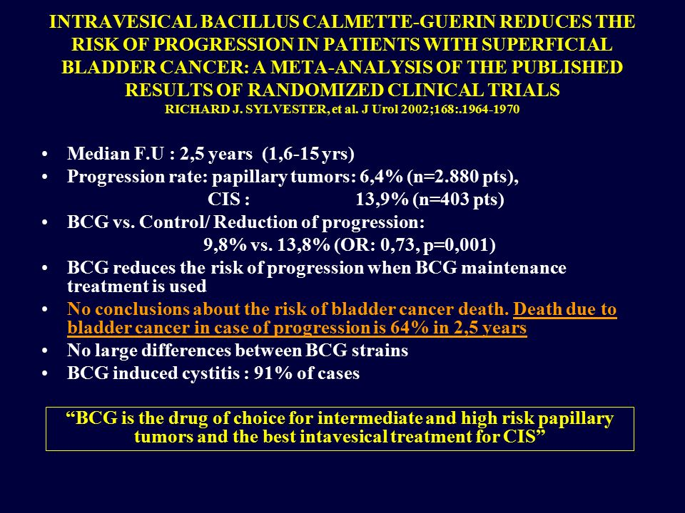 INTRAVESICAL BACILLUS CALMETTE-GUERIN REDUCES THE RISK OF PROGRESSION IN PATIENTS WITH SUPERFICIAL BLADDER CANCER: A META-ANALYSIS OF THE PUBLISHED RESULTS OF RANDOMIZED CLINICAL TRIALS RICHARD J. SYLVESTER, et al. J Urol 2002;168:.1964-1970