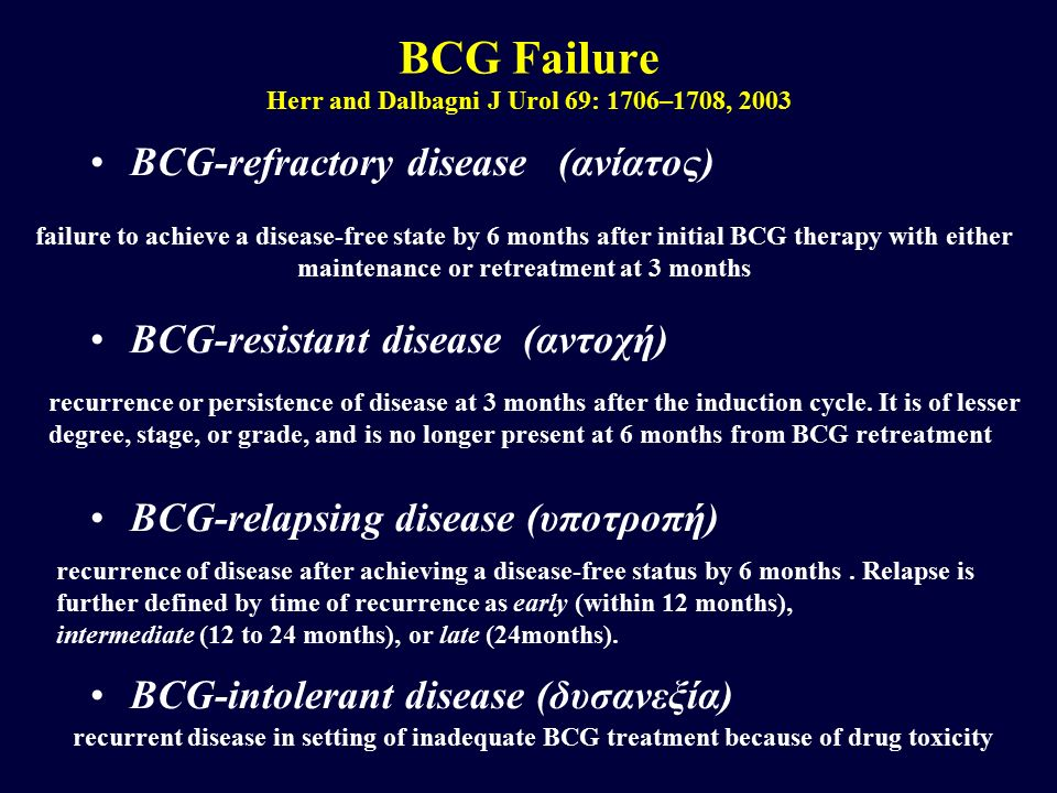 BCG Failure Herr and Dalbagni J Urol 69: 1706–1708, 2003