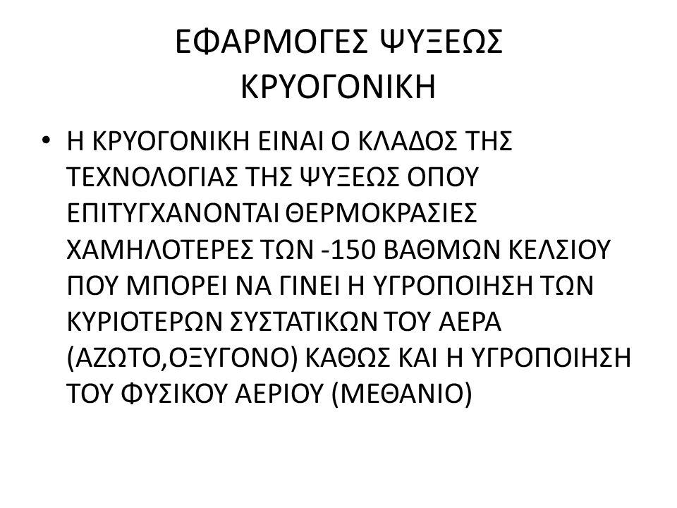 ΕΦΑΡΜΟΓΕΣ ΨΥΞΕΩΣ ΚΡΥΟΓΟΝΙΚΗ