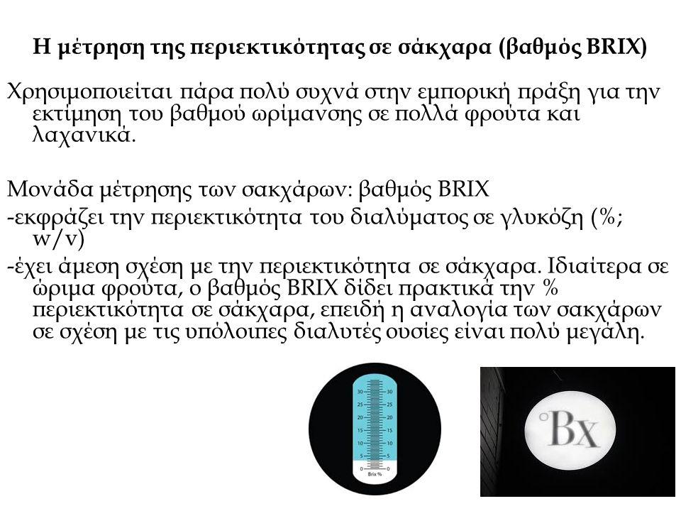 Η μέτρηση της περιεκτικότητας σε σάκχαρα (βαθμός BRIX)