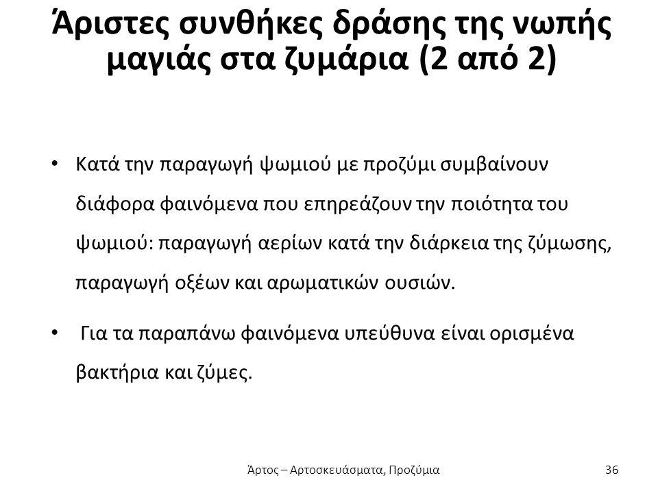 Άριστες συνθήκες δράσης της νωπής μαγιάς στα ζυμάρια (2 από 2)