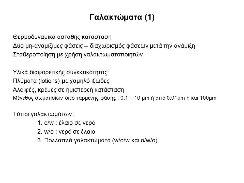 Γαλακτώματα (1) Θερμοδυναμικά ασταθής κατάσταση