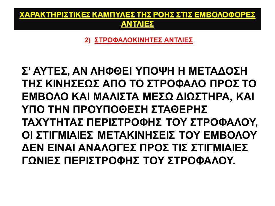 ΧΑΡΑΚΤΗΡΙΣΤΙΚΕΣ ΚΑΜΠΥΛΕΣ ΤΗΣ ΡΟΗΣ ΣΤΙΣ ΕΜΒΟΛΟΦΟΡΕΣ ΑΝΤΛΙΕΣ