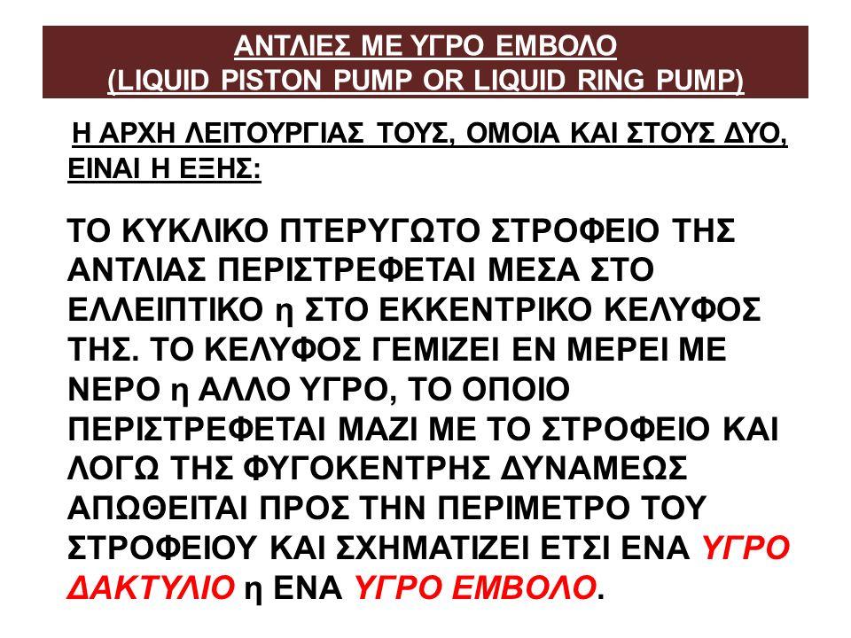 ΑΝΤΛΙΕΣ ΜΕ ΥΓΡΟ ΕΜΒΟΛΟ (LIQUID PISTON PUMP OR LIQUID RING PUMP)