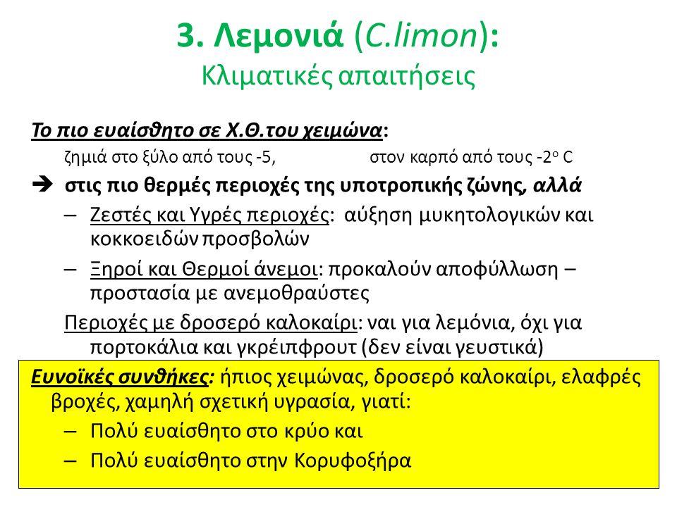 3. Λεμονιά (C.limon): Κλιματικές απαιτήσεις