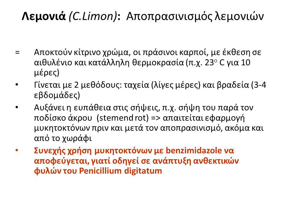 Λεμονιά (C.Limon): Αποπρασινισμός λεμονιών