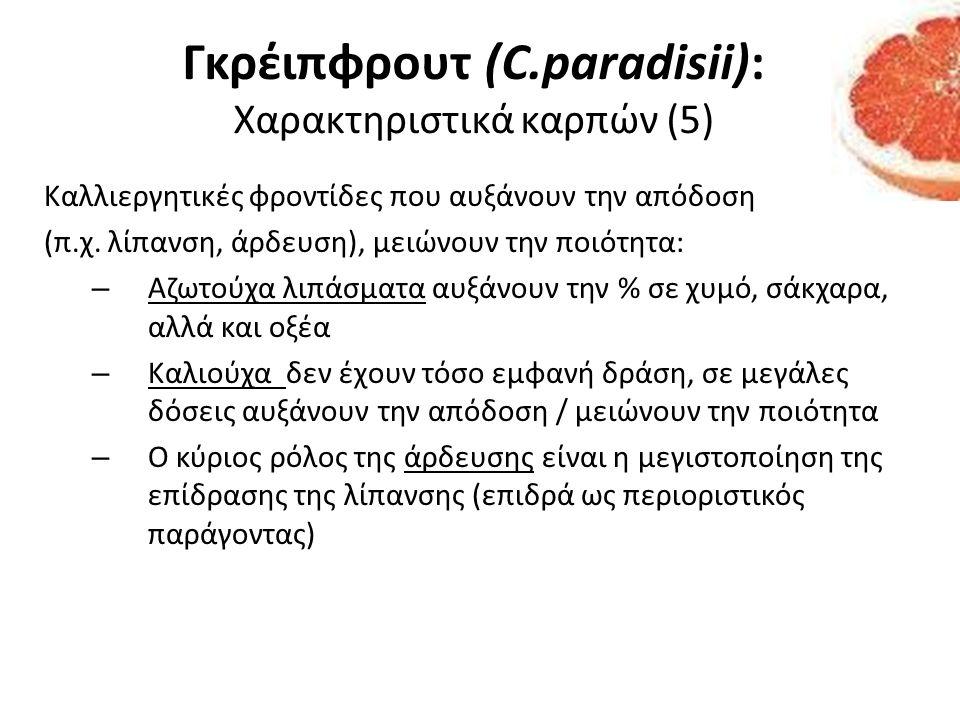 Γκρέιπφρουτ (C.paradisii): Χαρακτηριστικά καρπών (5)