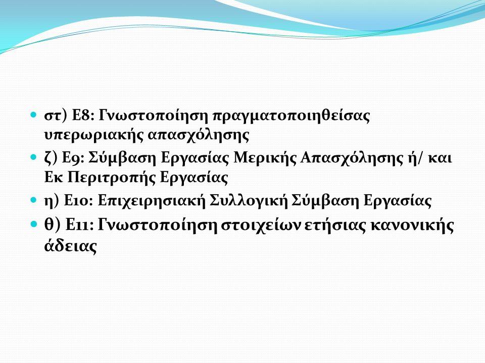 θ) Ε11: Γνωστοποίηση στοιχείων ετήσιας κανονικής άδειας