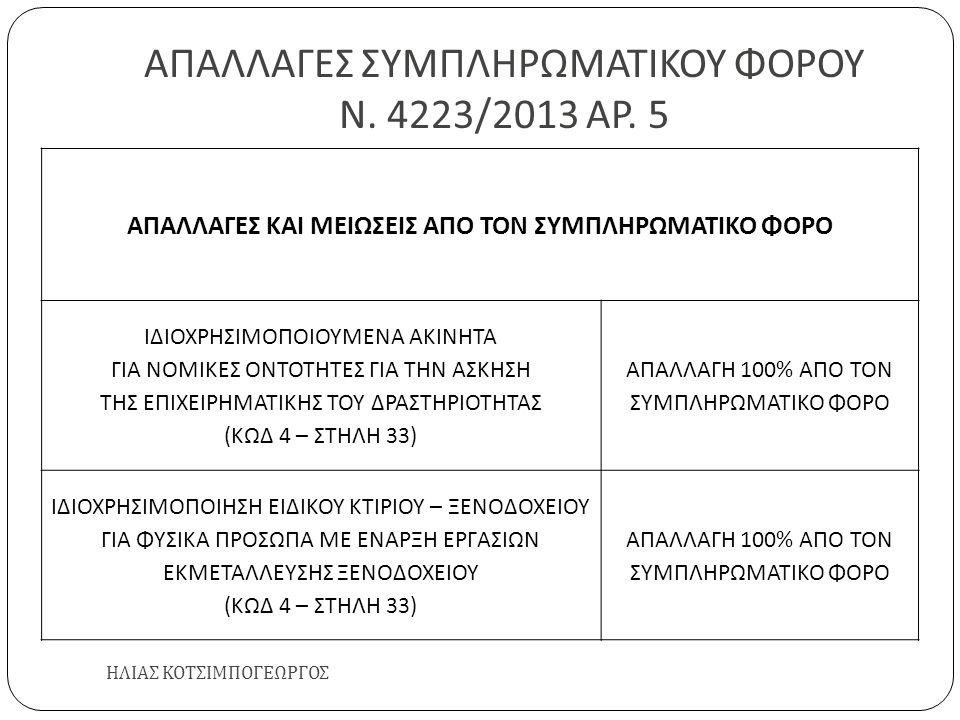 ΑΠΑΛΛΑΓΕΣ ΣΥΜΠΛΗΡΩΜΑΤΙΚΟΥ ΦΟΡΟΥ Ν. 4223/2013 ΑΡ. 5