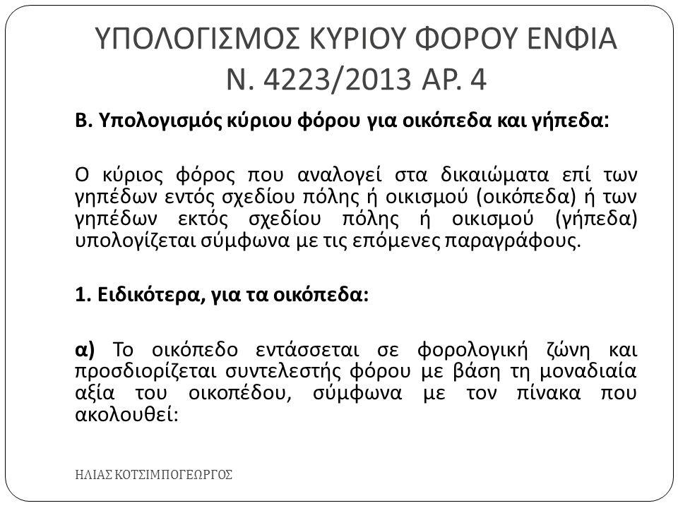 ΥΠΟΛΟΓΙΣΜΟΣ ΚΥΡΙΟΥ ΦΟΡΟΥ ΕΝΦΙΑ Ν. 4223/2013 ΑΡ. 4