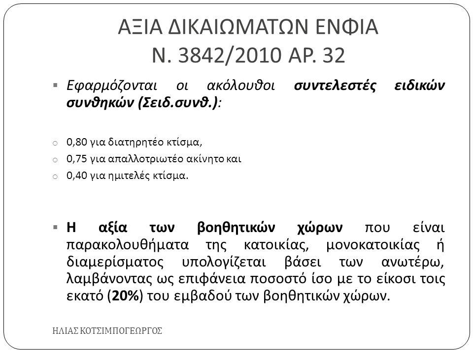 ΑΞΙΑ ΔΙΚΑΙΩΜΑΤΩΝ ΕΝΦΙΑ Ν. 3842/2010 ΑΡ. 32