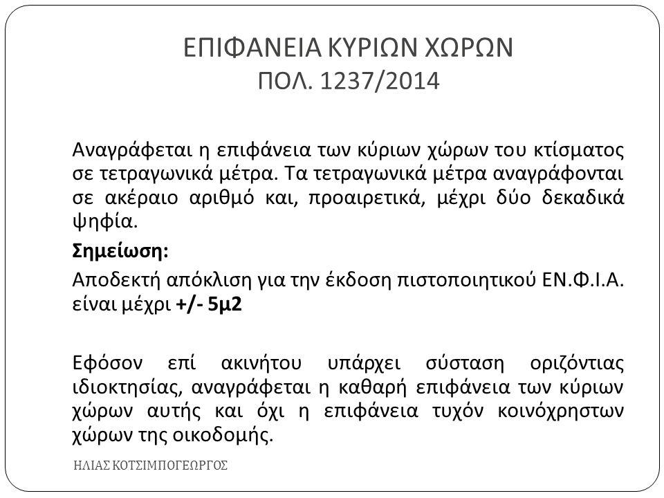 ΕΠΙΦΑΝΕΙΑ ΚΥΡΙΩΝ ΧΩΡΩΝ ΠΟΛ. 1237/2014