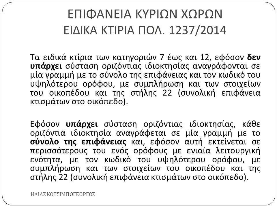 ΕΠΙΦΑΝΕΙΑ ΚΥΡΙΩΝ ΧΩΡΩΝ ΕΙΔΙΚΑ ΚΤΙΡΙΑ ΠΟΛ. 1237/2014