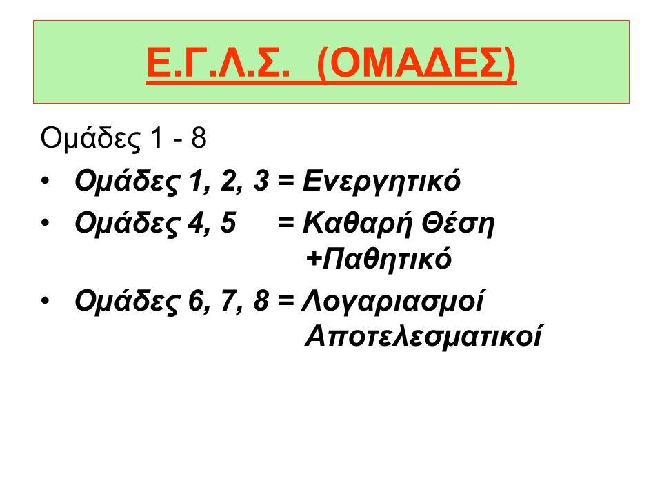 Ε.Γ.Λ.Σ. (ΟΜΑΔΕΣ) Οµάδες 1 - 8 Οµάδες 1, 2, 3 = Ενεργητικό