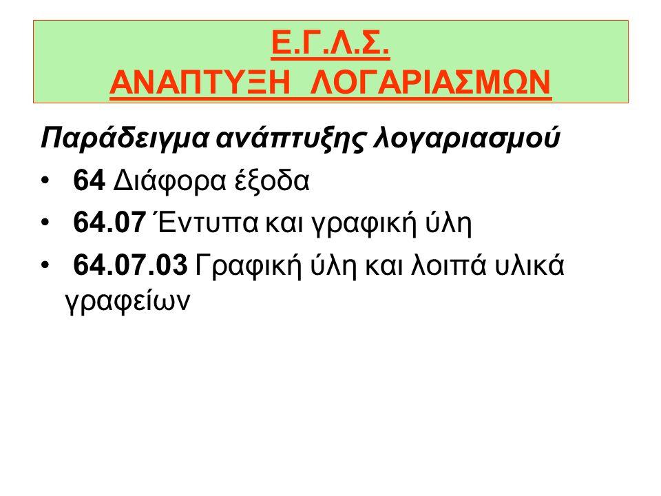 Ε.Γ.Λ.Σ. ΑΝΑΠΤΥΞΗ ΛΟΓΑΡΙΑΣΜΩΝ