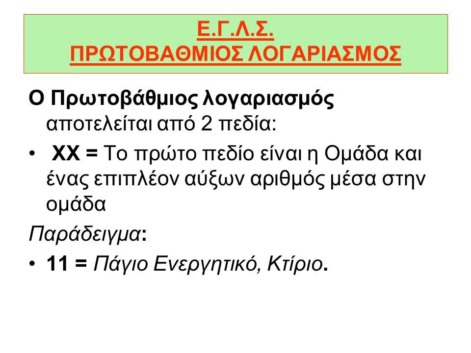 Ε.Γ.Λ.Σ. ΠΡΩΤΟΒΑΘΜΙΟΣ ΛΟΓΑΡΙΑΣΜΟΣ
