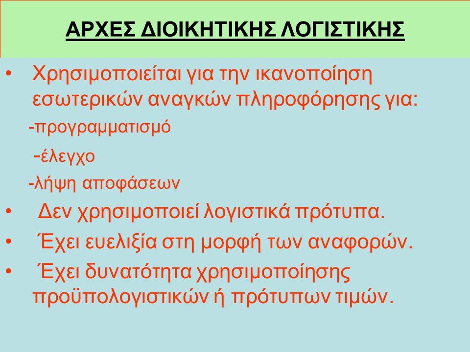 ΑΡΧΕΣ ΔΙΟΙΚΗΤΙΚΗΣ ΛΟΓΙΣΤΙΚΗΣ