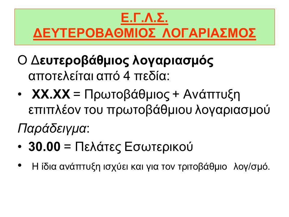 Ε.Γ.Λ.Σ. ΔΕΥΤΕΡΟΒΑΘΜΙΟΣ ΛΟΓΑΡΙΑΣΜΟΣ