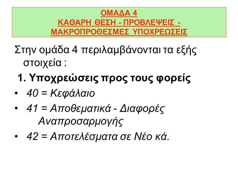 ΟΜΑΔΑ 4 ΚΑΘΑΡΗ ΘΕΣΗ - ΠΡΟΒΛΕΨΕΙΣ - ΜΑΚΡΟΠΡΟΘΕΣΜΕΣ ΥΠΟΧΡΕΩΣΕΙΣ