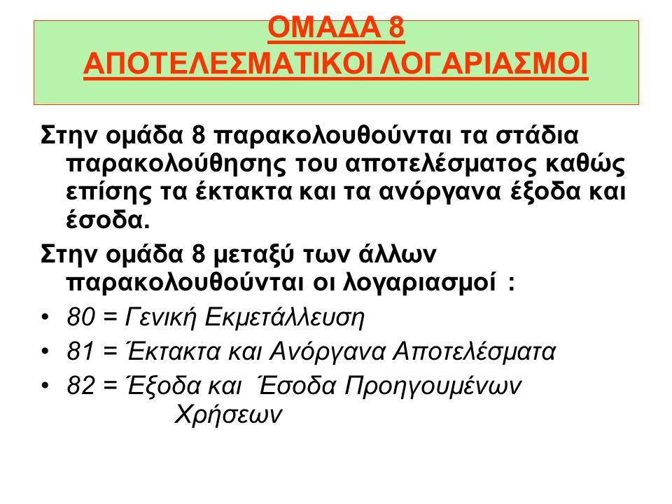 ΟΜΑΔΑ 8 ΑΠΟΤΕΛΕΣΜΑΤΙΚΟΙ ΛΟΓΑΡΙΑΣΜΟΙ