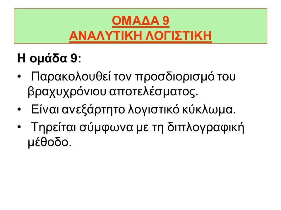 ΟΜΑΔΑ 9 ΑΝΑΛΥΤΙΚΗ ΛΟΓΙΣΤΙΚΗ