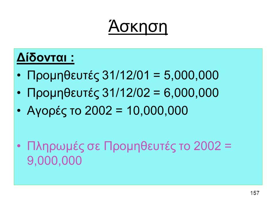 Άσκηση Δίδονται : Προμηθευτές 31/12/01 = 5,000,000
