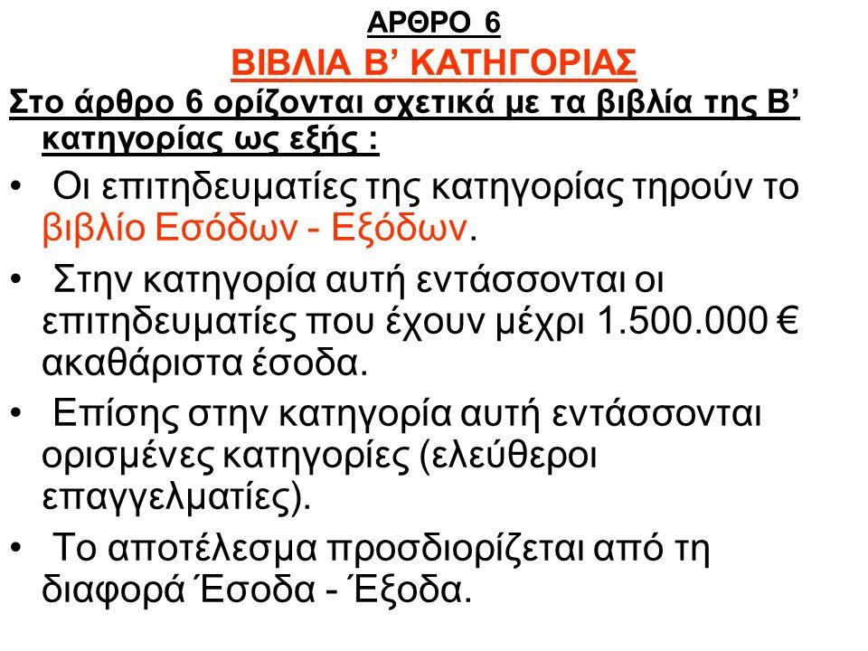 ΑΡΘΡΟ 6 ΒΙΒΛΙΑ Β' ΚΑΤΗΓΟΡΙΑΣ