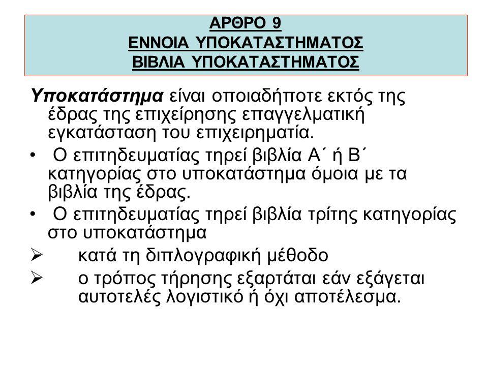 ΑΡΘΡΟ 9 ΕΝΝΟΙΑ ΥΠΟΚΑΤΑΣΤΗΜΑΤΟΣ ΒΙΒΛΙΑ ΥΠΟΚΑΤΑΣΤΗΜΑΤΟΣ