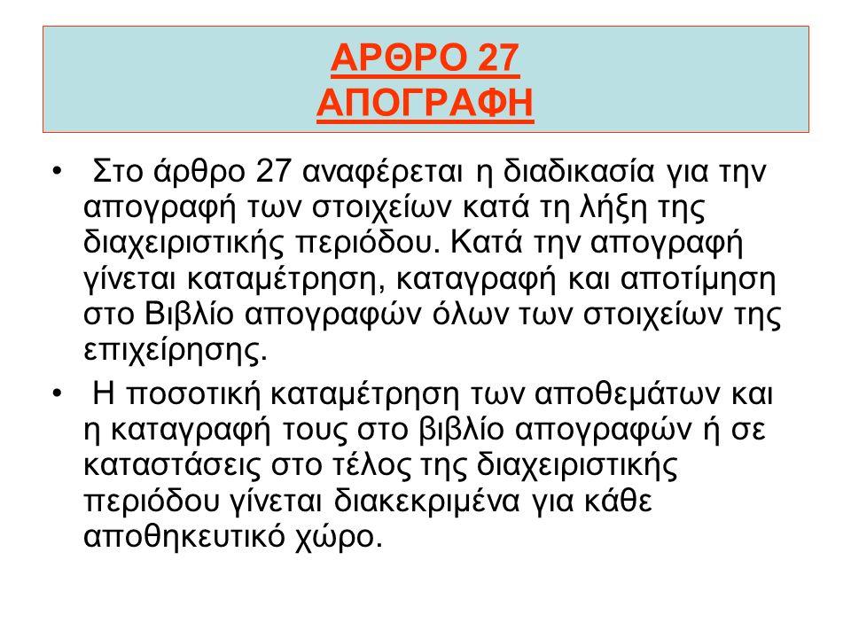 ΑΡΘΡΟ 27 ΑΠΟΓΡΑΦΗ